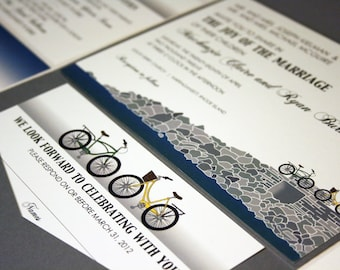 NEW SAMPLE Two Bikes Pocketfold Wedding Invitation, Tandem, Pier, East Coast, West Coast, South Coast, Grey, Blue, Green, Yellow, Beach