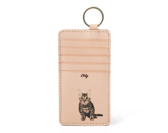 Personalised Leather Keychain Card Holder Keychain