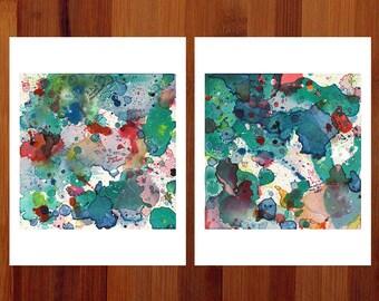 Fun Dorm Wall Art, Abstract Art Set, Modern Look, Teal Abstract, Diptych Art, Abstract Watercolor Prints, Set of 2 Prints, Fantasy, 8.5x11
