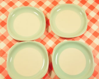 Vintage Syracuse China Plates - Set Of 4 - Appetizer Plates - Small Dish - Mint Green