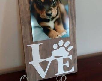 Dog Picture Frame.Dog Frame.Pet Picture Frame.Love Paw Frame.Paw Print Picture Frame.Dog Lover.Dog Decor.Dog Lover Gift.Dog Photo Frame