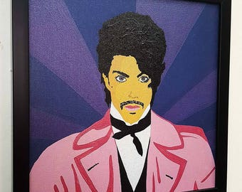 Prince RETRO- Giclee Wall Art mixed media on canvas - Prince framed poster Painting