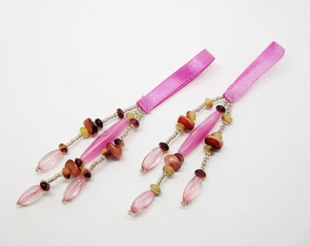 Set of 2 tassels, PomPoms and tassels pink beads - 7th ref