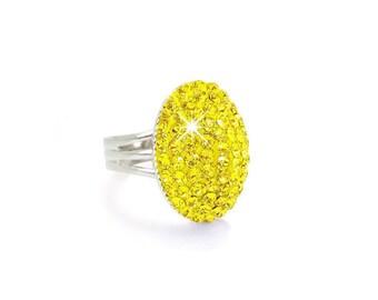 Bright Yellow Swarovski Crystal Stone Ring, Light Topaz Yellow Swarovski Crystal Ring, Yellow Crystal Jewelry
