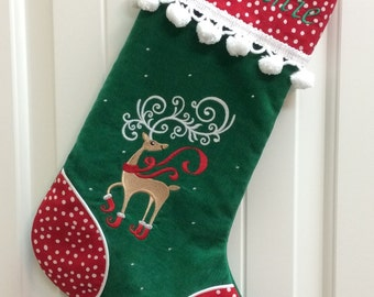 Embroidered Christmas Stockings, Personalized Christmas Stockings,  Family Christmas Stockings, Pet Stocking, Many Fabrics, Trims & Designs