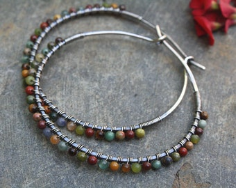 Sterling Silver Hoops, Desert Calico, Oxidized Silver, Wire Wrapped Hoops, Stone Hoops, Earth Tones, Boho Jewelry, Mixed Stone, Sterling