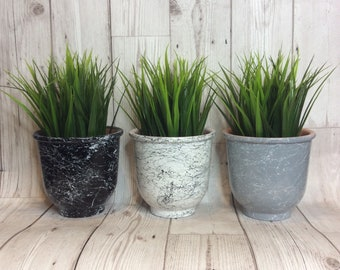 Marble effect indoor plant pot, retro, flower pot, house warming, gift