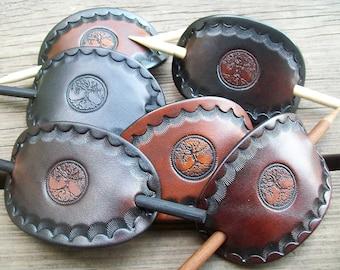 Tree of Life Handmade Leather Barrette