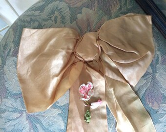 JUST REDUCED, Large Antique, 1900's Silk Bow and Sash Length with 3 Pieces of Silk Ribbon Work, Flower, bud and leaf
