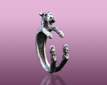 Airedale Terrier Ring,  Bingley Terrier Jewelry, Waterside Terrier, Silver Ring, Animal Ring, Dog Ring, Animal Jewelry, Sterling Silver Ring