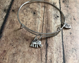 Elephant charm bracelet, elephant bracelet, elephant bangle, elephant jewelry, gift for her, birthday gift for her