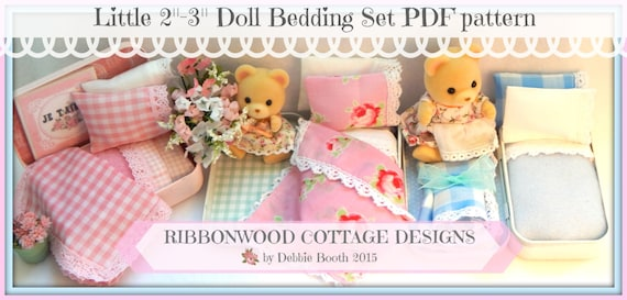 """Sewing Pattern Ribbonwood Cottage Miniature  Doll Bed and Bedding  2""""-3"""" Doll size (Calico Critters style doll) instant Download"""