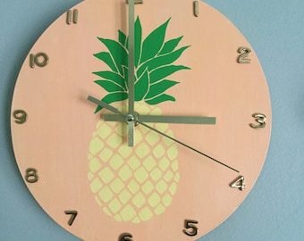Hand Painted Pineapple Clock