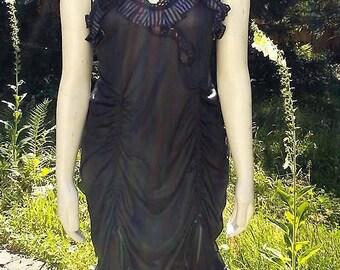 Plus Sized Black Ruffled Up-Cycled Dress