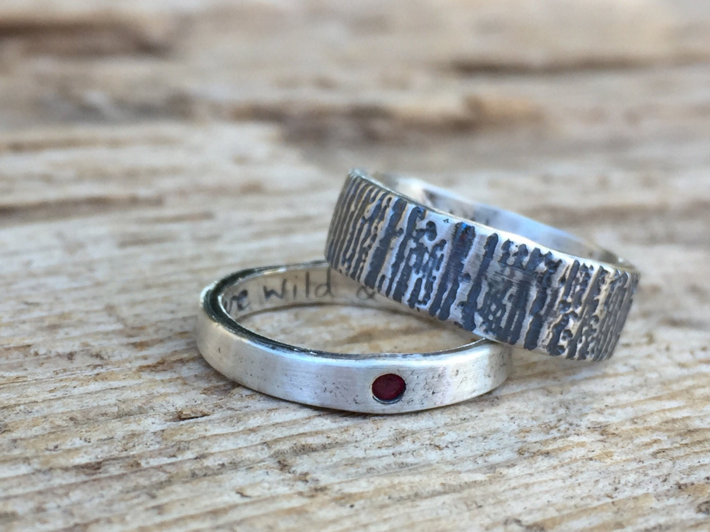 ruby silver bohemian wedding ring set alternative engagement