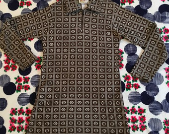Vintage Kids Clueless Brand Brown and White Daisy Grid Zip Up Long Sleeve Mini Cher Dress