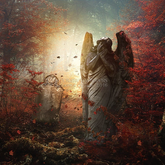 Gothic Stone Angel Art print by Enchanted Whispers