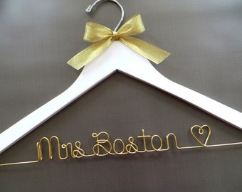 White Wedding Dress Hanger, Gold Wire Bridal Hanger, Mrs Hanger, White Gold Wedding, Bride Hanger, Wedding Coat Hanger, Engagement Gift