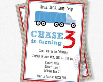 Semi Truck Birthday Invitation, Semi Truck Party Invite, Semi Truck Invitation, 18-wheeler Invitation