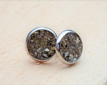Gold Glitter Stud Earrings - jewelry posts, accessories, women, sparkle, gifts for her, silver earrings