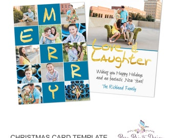 Christmas Card Template with Gold Lettering - 5x7 Photo Card - Photoshop Template - INSTANT DOWNLOAD or Printable - CC27