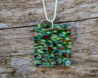 green fantasy mosaic necklace