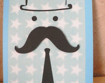 """card father's day man """"Mr. whiskers"""""""