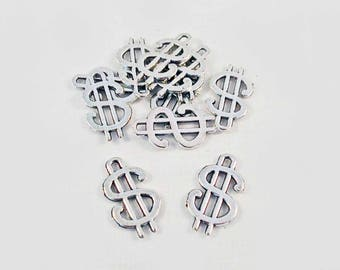 BJ11 - set of 2 charms Fortune Vegas Dollar sign Charms