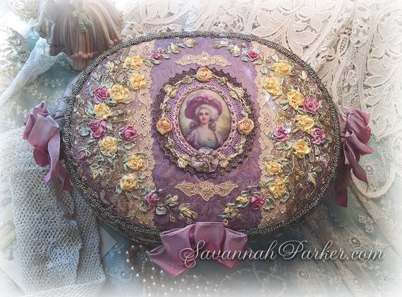 Exquisite Silk Victorian Rococo Ribbon Roses Embroidery Basket - Jewelry Box - Marie Antoinette - Silk Ribbonwork Embroidery - Antique Laces