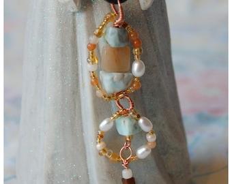 Abstract Multi Gemstone Pendant Copper Wire Wrapped Larimar Aventurine Pearl Pendant