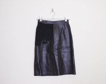 Black Leather Skirt Black Suede Skirt Leather Mini Skirt High Waist Skirt Pencil Skirt Leather Motorcycle Skirt Biker Skirt 80s S Small