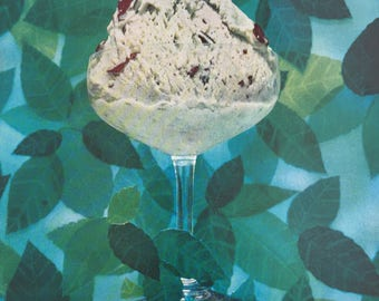 Yummy 1957 Lady Borden Mint Chocolate Chip Ice Cream Ad.