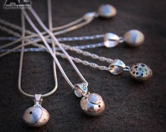 Pendants - Silver Little bols with Texture - Sterling Silver - Chain Included