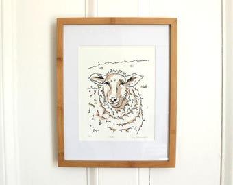 "Hand printed block print sheep titled ""Ewe"""