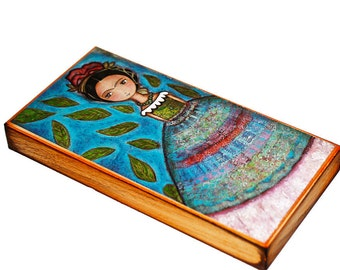 Frida y su LLuvia de Hojas - Wood Block 5 x 10 inches - Folk Art By FLOR LARIOS