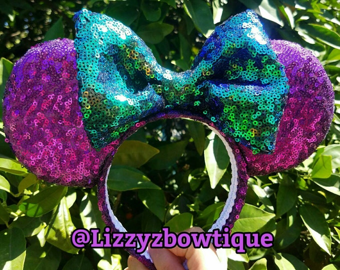 Purple Sequin Minnie ears with any color sequin bow
