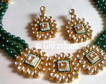 Beautiful high quality gold plated Kindan and green beads set with earrings