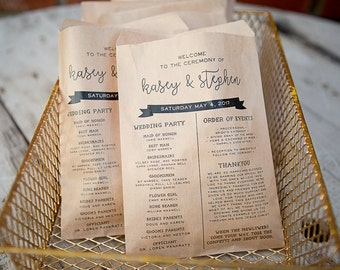20 Bags // Wedding Program Craft Paper Bag