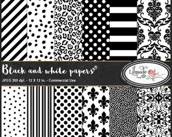 50%OFF Black and white digital paper,  black and white stripe digital paper, black and white spot, planner sticker paper, damask paper,