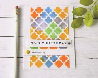 Bday Cards For Woman - Happy Birthday Her - Moroccan Tile Card - Bday Cards For Mom - Girlfriend Birthday - Cards For Sister