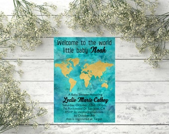 Travel theme baby shower invitation Welcome to the world baby shower invite Welcome baby Travel theme baby shower invite Travel baby shower