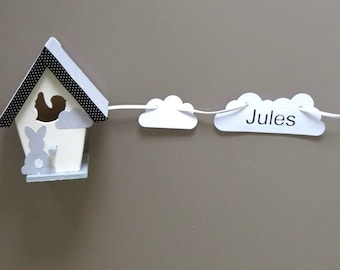 Grey, black and blue decorative personalized birdhouse with Garland name