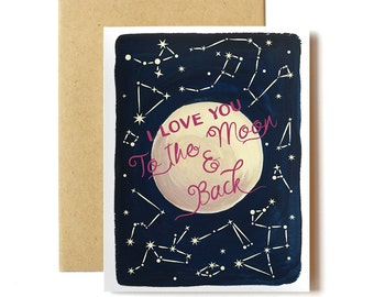 "Romantic ""I Love You to the Moon and Back!"" - I Love You Card"