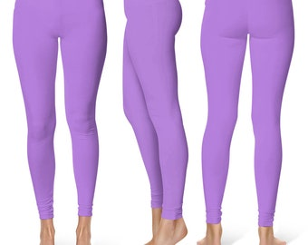 Lavender Leggings, Mid Rise Waist Workout Pants, Womens Yoga Leggings