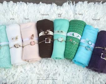 Newborn Wrap Set includes 2 Tiebacks * Jersey Knit Headband *  Newborn Tieback * Photo Prop * Newborn Wrap * Baby Headband