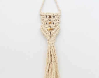 macrame car hanging with yellow jasper crystal || car accessories || gift for her || car decor || car accessory gift || Safe Travels