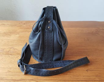 Handmade small black leather shoulder bag