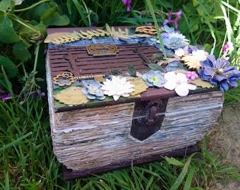 Secret garden book treasure box. Handmade with decoupage and mixed media.