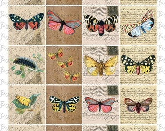 Mixed Media Butterfly Digital Download Collage Sheet 2 x 2 inches