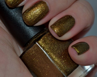 Black & Gold - Black and Gold Glitter Nail Polish